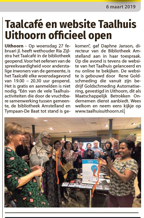 taalhuis Uithoorn - Opening Taalcafe en lancering Website taalhuisuithoorn.nl - Opening taalcafé Opening taal café