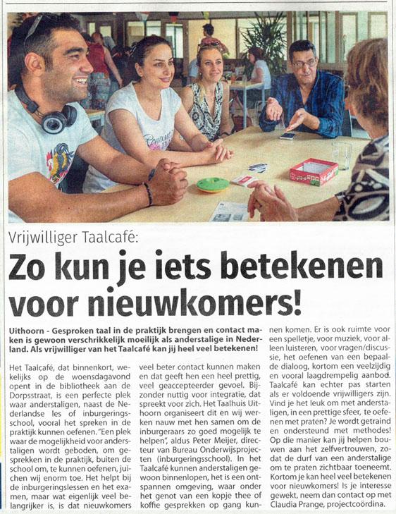 Taalhuis Uithoorn - Nieuwe Meerbode 2019-01-09 Zo kun je iets betekenen voor nieuwkomers!