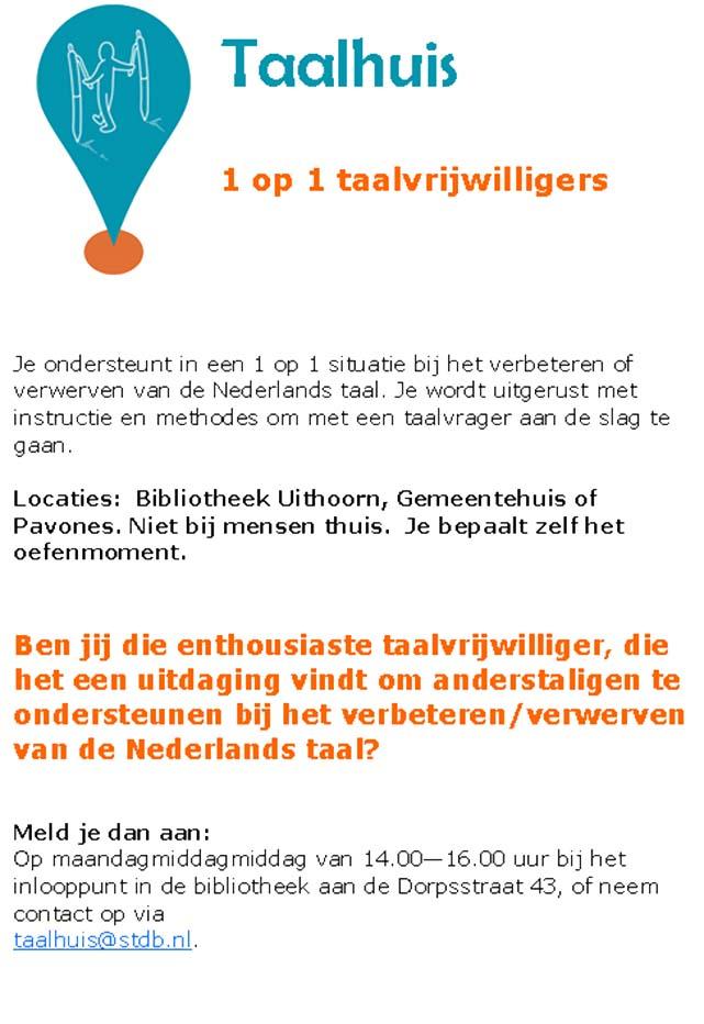 Taalhuis Uithoorn - vacature 1 op 1 taalvrijwilliger