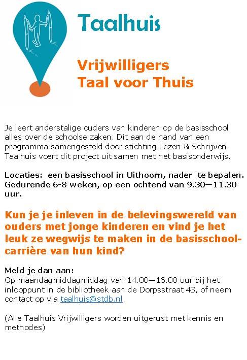 Taalhuis Uithoorn - vacature taal voor thuis vrijwilligers